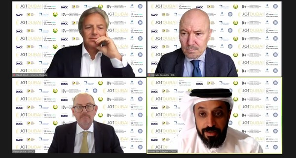 Speakers at today's JGT Dubai online press conference (clockwise from top left): David Bondi, Senior Vice President of Informa Markets in Asia; Corrado Peraboni, Chief Executive Officer of IEG; Ahmed Bin Sulayem, Executive Chairman and Chief Executive Officer of DMCC, and Martin Leake (Master of Ceremony), Special Adviser of DMCC