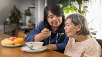 picture of adult woman feeding her elderly mother