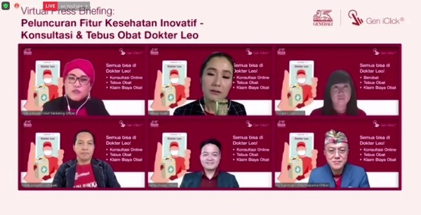 Starting from upper left: Vivin Arbianti (CMO Generali),Melissa Karim (Moderator), Jutany Japit (COO Generali), Natali Ardianto (CEO Lifepack), James Roring (CEO Prixa), and Edy Tuhirman (CEO Generali) in Virtual Press Conference of the prescription medication purchase and delivery feature in Dr Leo, Gen iClick App by Generali.