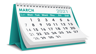 picture of March 2021 calendar