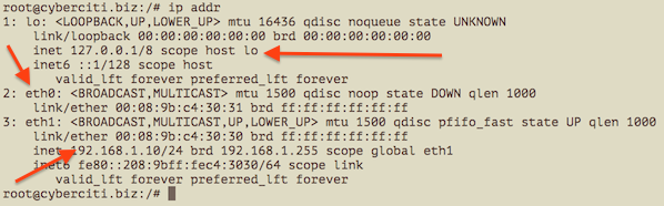 Fig.01 Showing IP address assigned to eth0, eth1, lo using ip command
