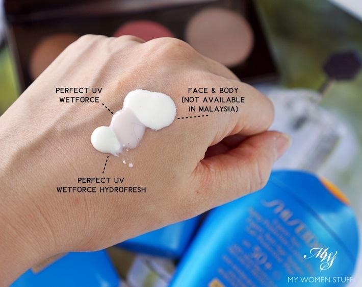 Shiseido Perfect UV Protector Hydrofresh swatch compare